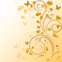 abstract background with autumn leaves and butterflies