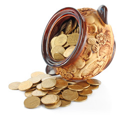 Turned pot with coins