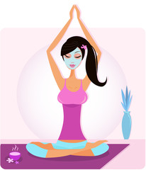 Yoga girl with facial mask practicing yoga asana. VECTOR