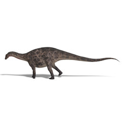 Dinosaur Dicraeosaurus. 3D rendering with clipping path and shad