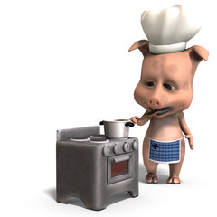 the cook is a cute toon pig. 3D rendering with clipping path and