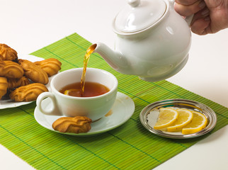 lemon tea and biscuits