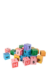 assorted childs letter play blocks