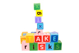 take risks in play letter blocks