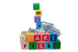 take risks with in childs letter play blocks