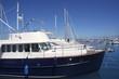 blue hull motorboat mediterranean marina