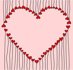 большое сердце из маленьких сердечек на ножках на розовом фоне