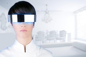 silver futuristic glasses woman modern white house