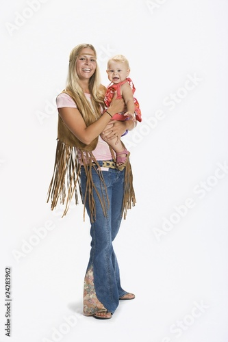 Woman And Baby Dressed In 1970's Clothes
