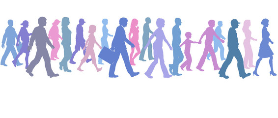 People of color group walk follow direction leader