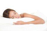 Fototapety Woman sleeping on white background