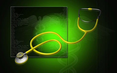 3d stethoscope on a digital background