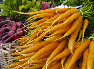 Display of carrots at Farmers' market
