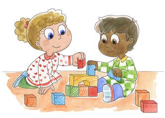 Bambini di diversa razza che giocano