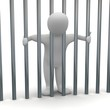 Jailed man in cell. 3d rendered illustration.