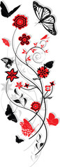 Floral ornament with butterflies, red and black