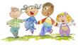 Gruppo di bambini per mano