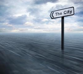 City sign in ocean