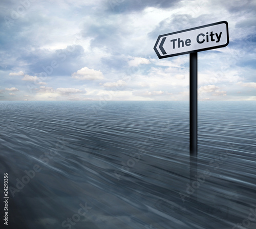 City sign in ocean