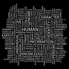 HUMAN. Word collage on black background.