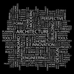 ARCHITECTURE. Wordcloud illustration.