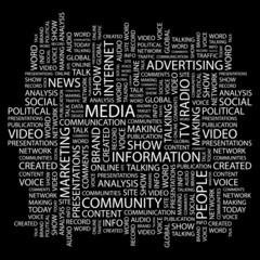 MEDIA. Wordcloud illustration.