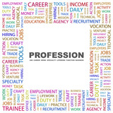 PROFESSION. Square frame with association terms. poster