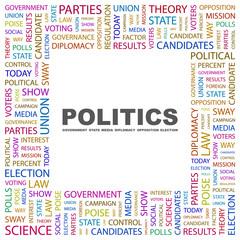 POLITICS. Square frame with association terms.