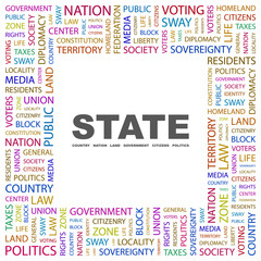 STATE. Square frame with association terms.