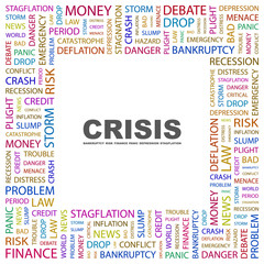 CRISIS. Square frame with association terms.