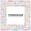 TERRORISM. Square frame with association terms.