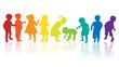 kinder silhouette regenbogen - 24298747