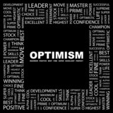 OPTIMISM. Square frame with association terms. poster