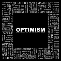 OPTIMISM. Square frame with association terms.