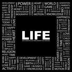 LIFE. Square frame with association terms.