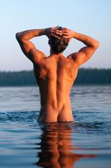 Male model in the water