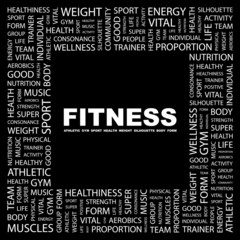 FITNESS. Square frame with association terms.