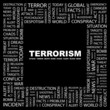 TERRORISM. Collage with association terms on black background.