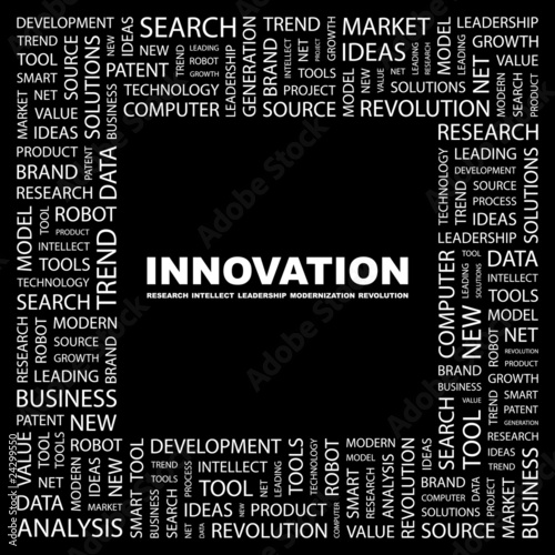 INNOVATION. Collage with association terms on black background.