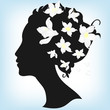 Floral hairstyle, woman face silhouette