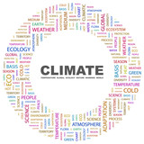 CLIMATE. Circular frame with association terms. poster