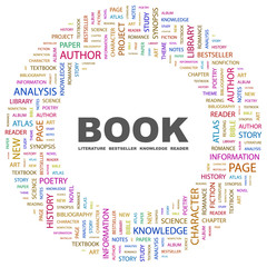 BOOK. Wordcloud vector illustration.