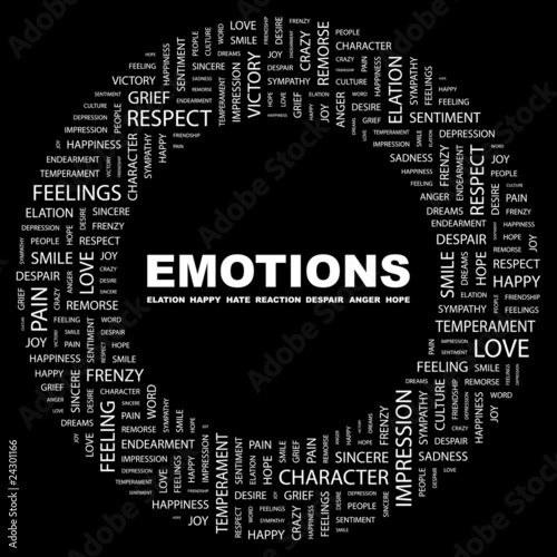 EMOTIONS. Circular frame with association terms.