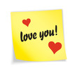 "Yellow sticky note ""love"""