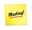 """Yellow sticky note """"meeting"""""""