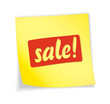 """Yellow sticky note """"sale"""""""