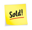 "Yellow sticky note ""sold"""