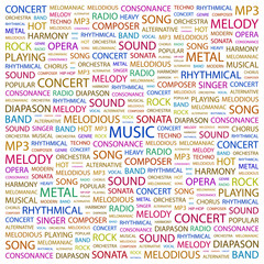 MUSIC. Word collage on white background.
