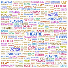 THEATRE. Wordcloud vector illustration.