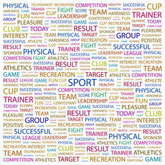 SPORT. Wordcloud vector illustration.